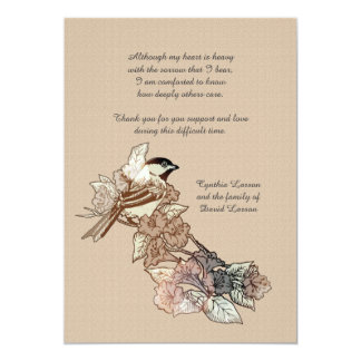 Lone Bird Bereavement Thank You Notecard 5x7 Paper Invitation Card