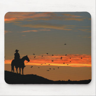 Lone Cowboy and Horse Mousepad