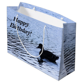 Lone Duck Wildlife Lake Water Ripples Photography Large Gift Bag