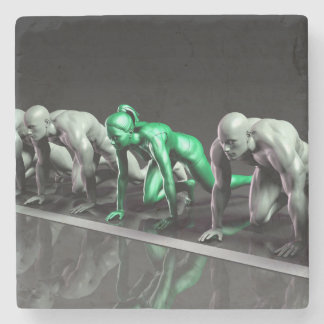 Lone Female Competing Against Males in a Race Stone Beverage Coaster