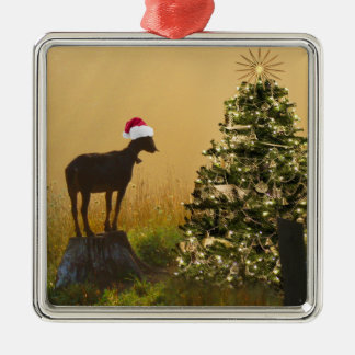 Lone Goat Marvels At Christmas Tree Christmas Ornament