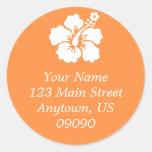 Lone Hibiscus Flower Address Label (Orange) Round Sticker