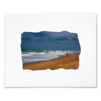Lone Man Walking on Stormy Beach Cropped Art Photo