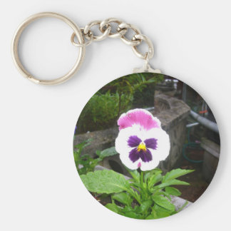 Lone Purple and White Pansy Key Chain