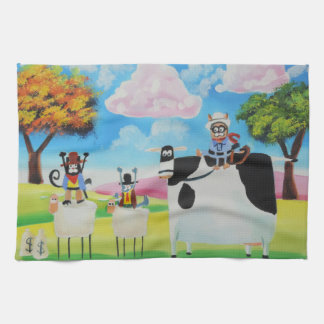 Lone ranger cats and sheep painting kitchen towels