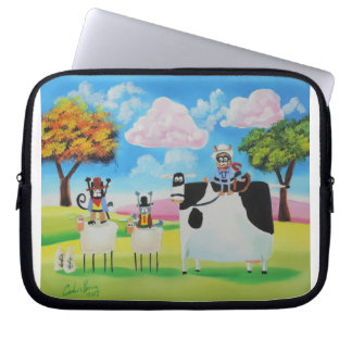 Lone ranger cats and sheep painting laptop sleeves