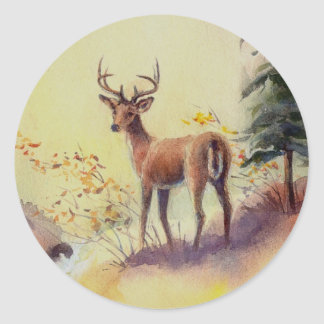 LONE STAG by SHARON SHARPE Classic Round Sticker