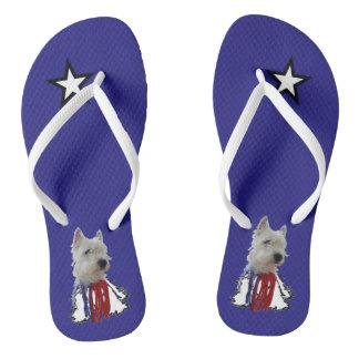 Lone Star - American Flag Westie Flip Flops