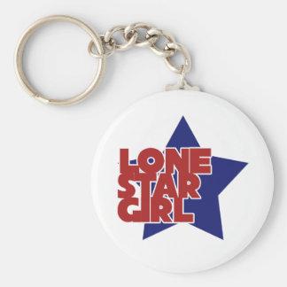 Lone Star Girl Basic Round Button Key Ring