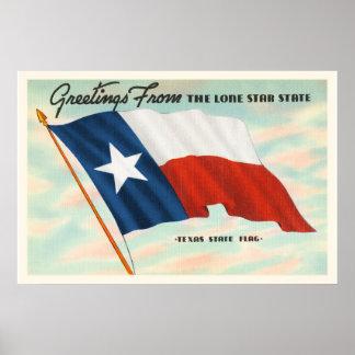 Lone Star State Texas TX Vintage Travel Souvenir Poster