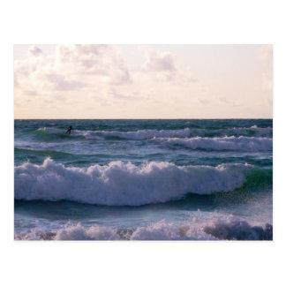 Lone Surfer at Fistral Beach Newquay Cornwall UK Postcard