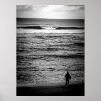 Lone Surfer B&W Poster