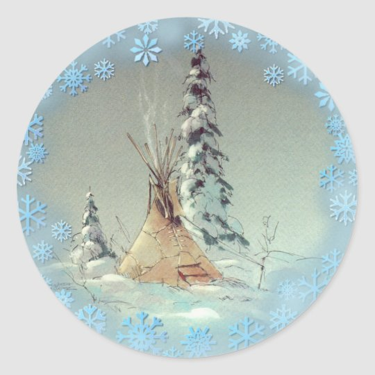 LONE TIPI & SNOWFLAKES by SHARON SHARPE Classic Round Sticker