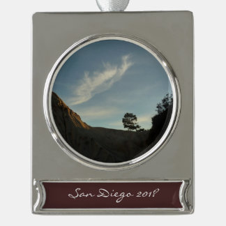 Lone Torrey Pine California Sunset Landscape Silver Plated Banner Ornament