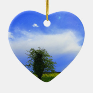 Lone tree ceramic heart decoration