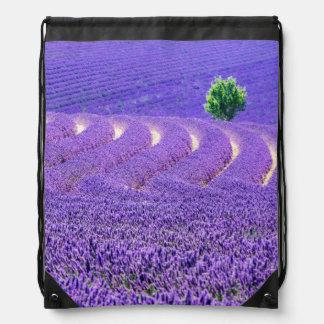 Lone tree in Lavender Field, France Drawstring Bag