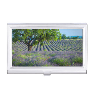 Lone tree in purple field of lavender business card holder