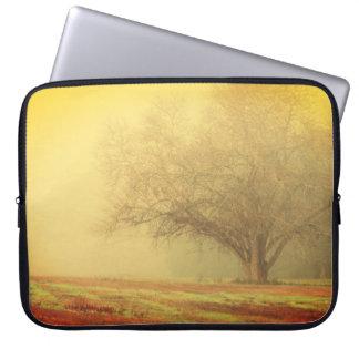 Lone Tree on Misty Morning Laptop Sleeve