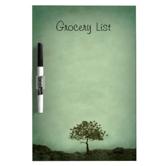 Lone Tree on Sea Green Grocery List Dry Erase Board