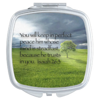 Lone Tree, Rays of Sunshine, Christian Bible Verse Compact Mirrors