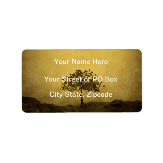 Lone Tree Sepia Tone Wedding Address Label