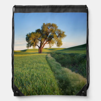 Lone tree surrounded by rolling hills of wheat 2 drawstring bag