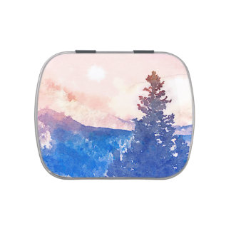 Lone Tree Watercolor Jelly Belly Tin