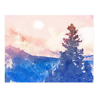 Lone Tree Watercolor Postcard