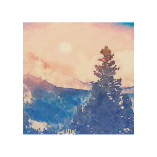 Lone Tree Watercolor Wood Wall Art