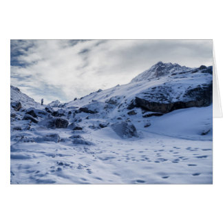 Lone Trekker in Thick Mountain Snow (Himalayas) Card