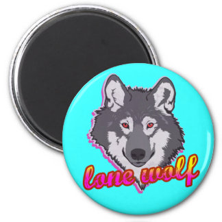 Lone Wolf, 80's style! 6 Cm Round Magnet
