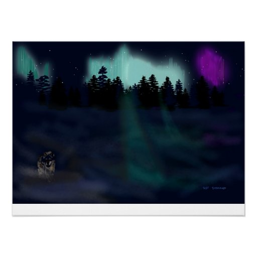 Lone wolf by the lights posters