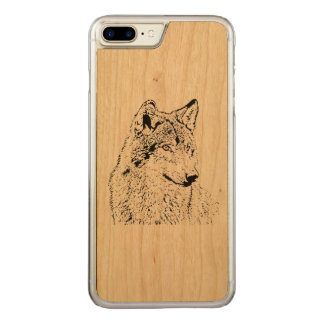 Lone Wolf Carved iPhone 8 Plus/7 Plus Case