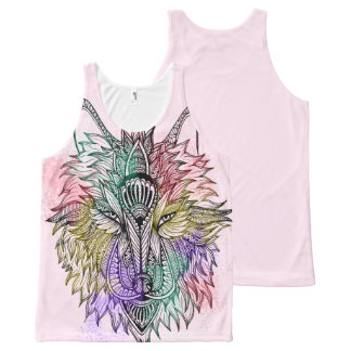 Lone Wolf Color All-Over Print Tank Top