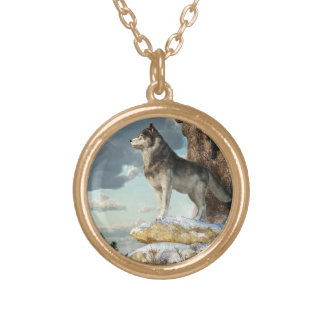 Lone Wolf Gold Plated Necklace