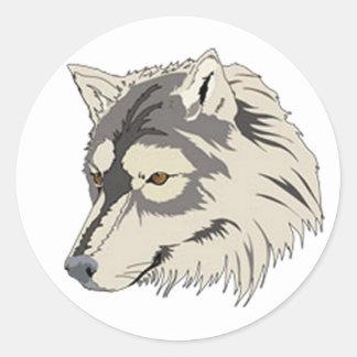 Lone Wolf Head Round Stickers