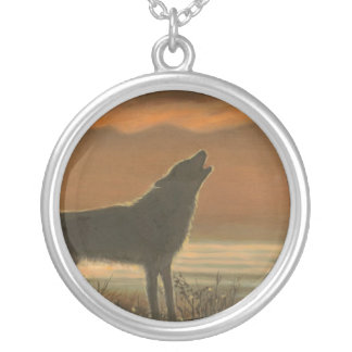 Lone wolf howling round pendant necklace