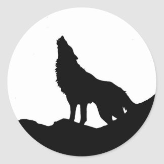 Lone Wolf Standing on a Hill Round Sticker