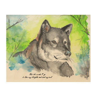 Lone Wolf Watercolor Wood Wall Art