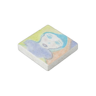 Loneliness, Stone Magnet, Chalk Drawing, Art Stone Magnet