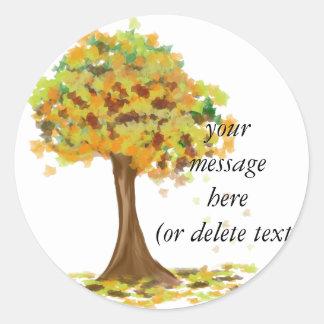 Lonely Autumn Tree Classic Round Sticker