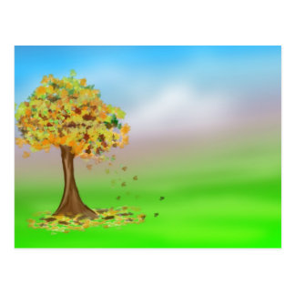 Lonely Autumn Tree Postcard