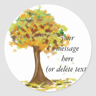 Lonely Autumn Tree Round Sticker