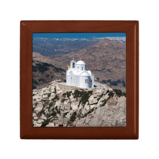 Lonely church in Greek mountains Small Square Gift Box