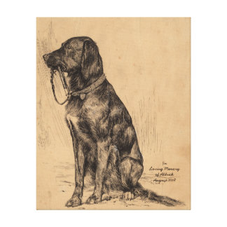 Lonely Dog holding his own leash, In Loving Memory Canvas Print