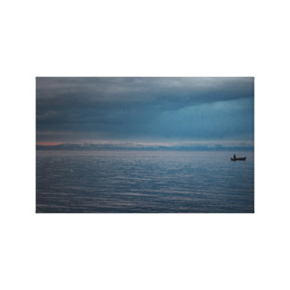 Lonely Fisherman Wrapped Canvas Gallery Wrapped Canvas