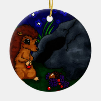 Lonely Hedgehog at night Christmas Ornament