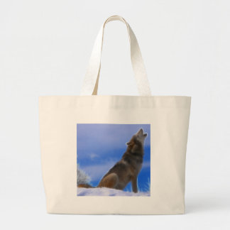 Lonely Howling Endangered Gray Wolf Large Tote Bag