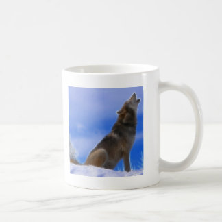 Lonely Howling Endangered Gray Wolf Mugs