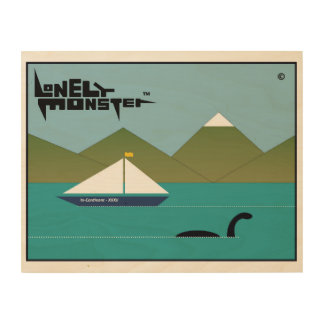 Lonely Monster and Yacht Wood Wall Art